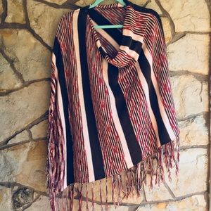 Pink and brown poncho